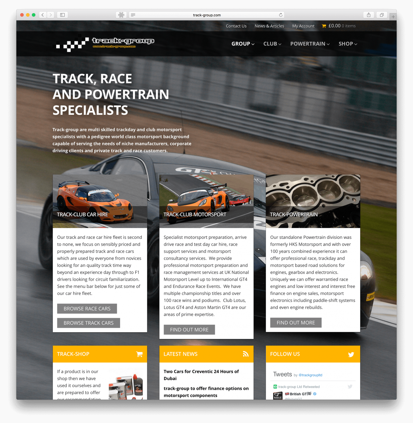 Website design for Cambridge Motorsport company
