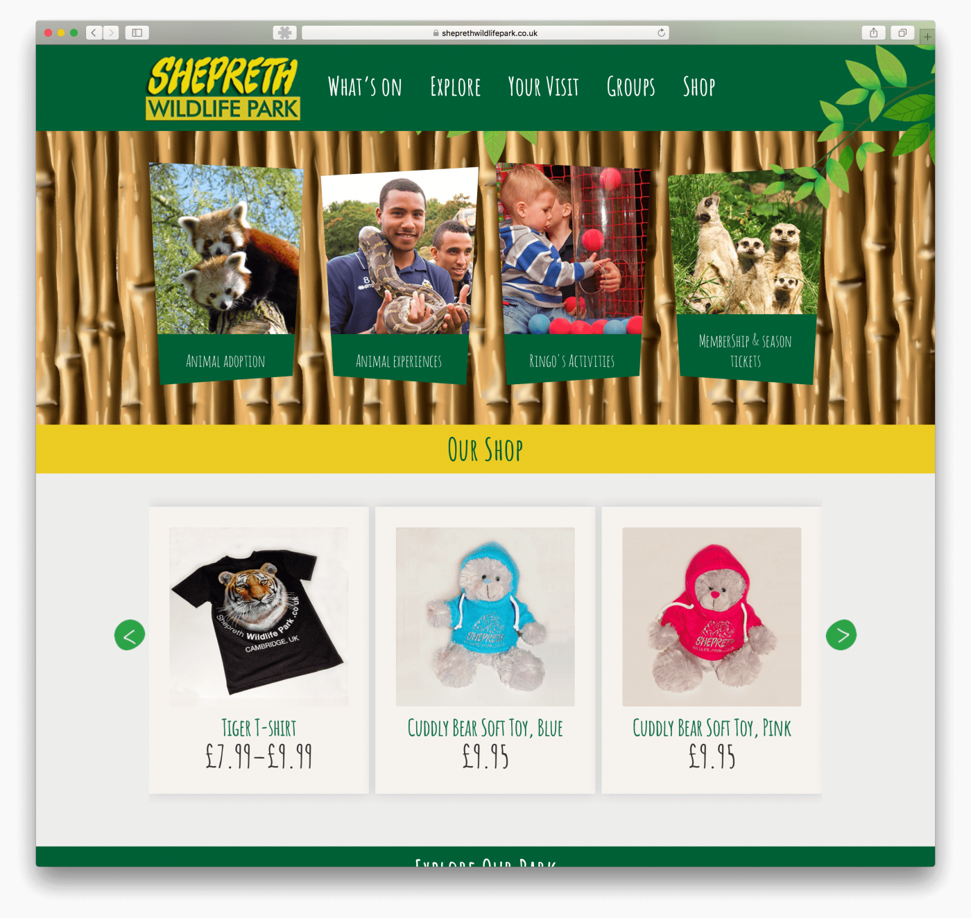 Wildlife park website design Cambridge