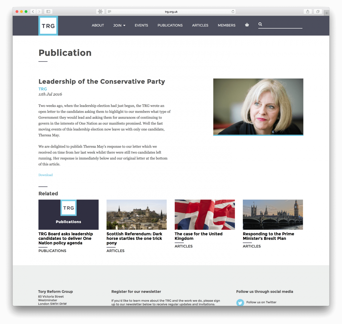 Political web design for TRG