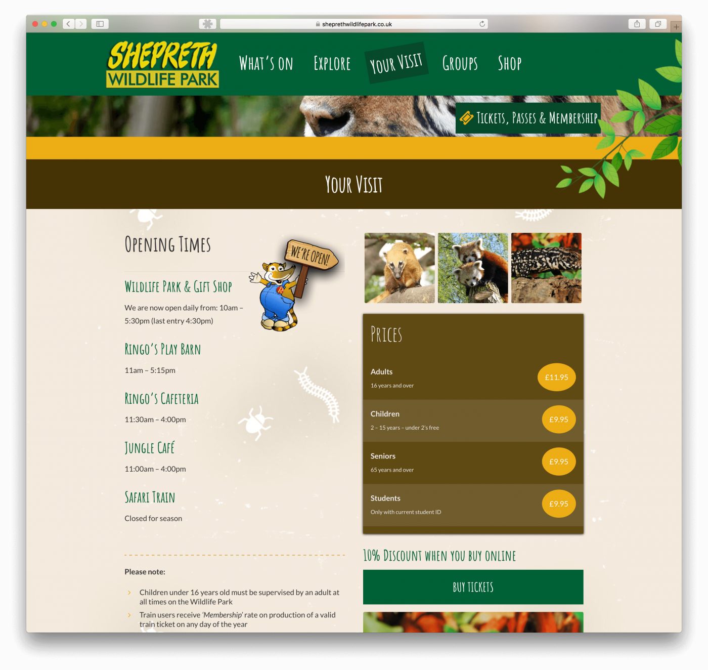 Website design for Wildlife Park